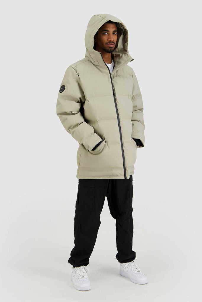 HUFFER Mens Oversize Superdown Jacket Sand Full