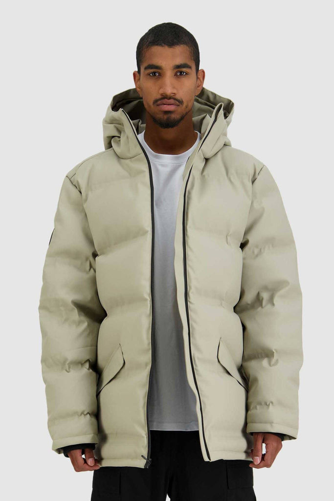 HUFFER Mens Oversize Superdown Jacket Sand Front