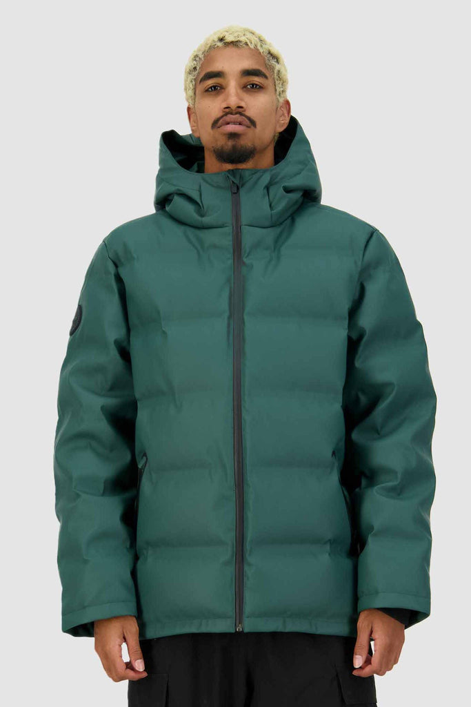HUFFER Mens Superdown Jacket Emerald Front closed
