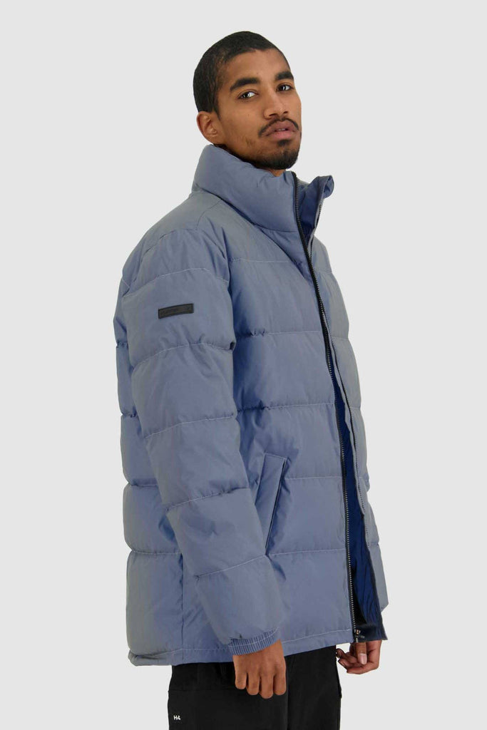 HUFFER Mens Track Puffer Jacket Reflective Side
