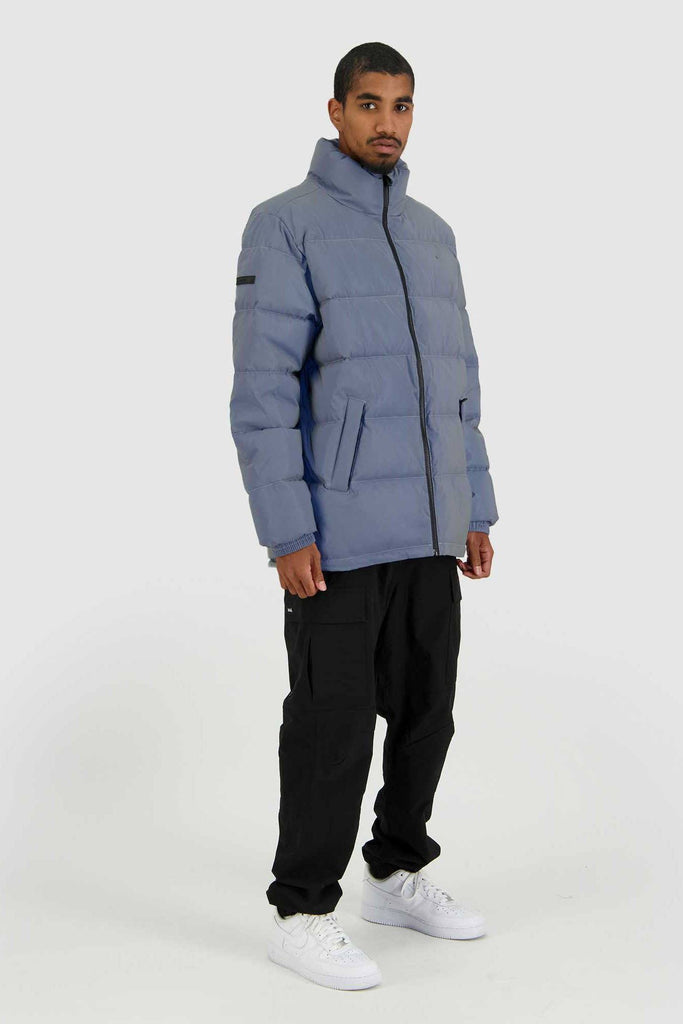 HUFFER Mens Track Puffer Jacket Reflective Full