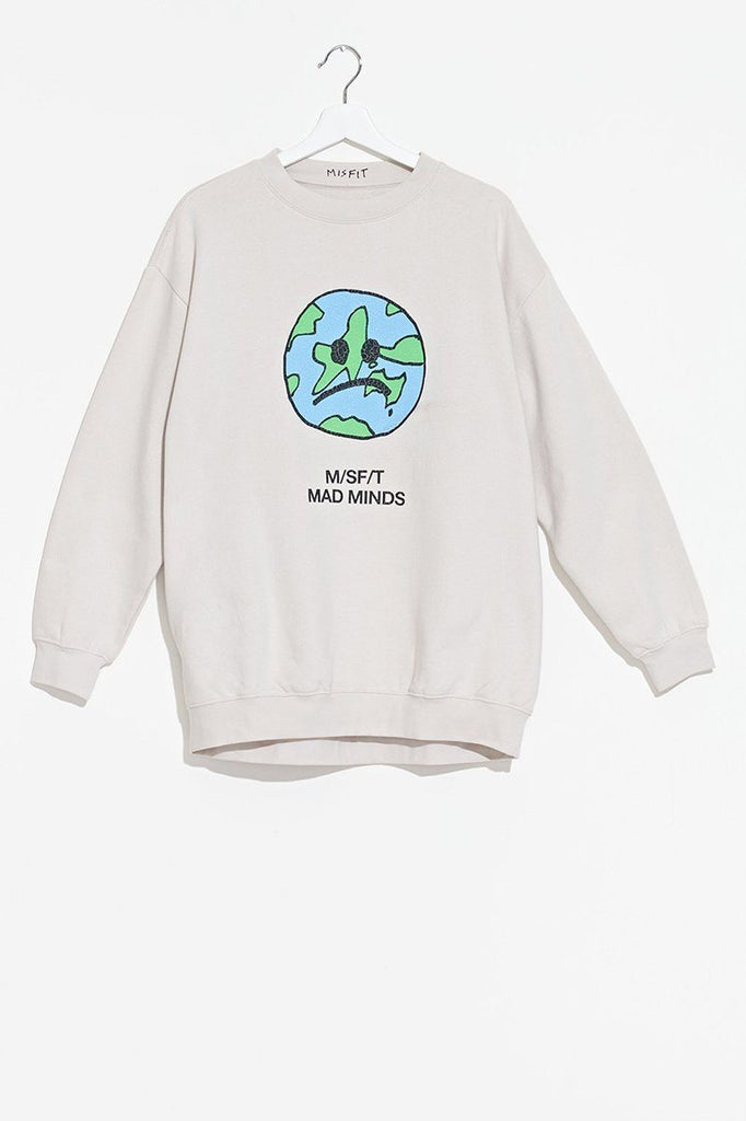 MISFIT Melon Holly Oversize Crew Off White Flat Lay