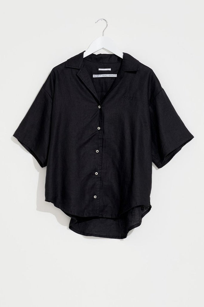 MISFIT Well Tempered Linen Shirt Black Flat Lay