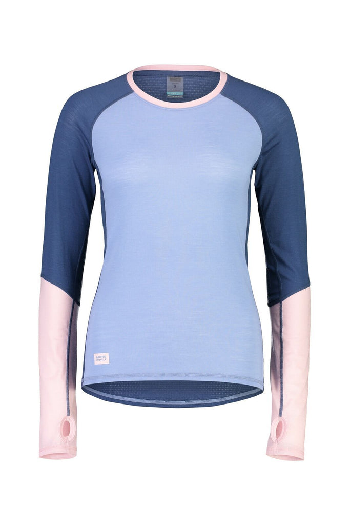 MONS ROYALE Womens Bella Tech Ls Fades Of Summer Front Off Model