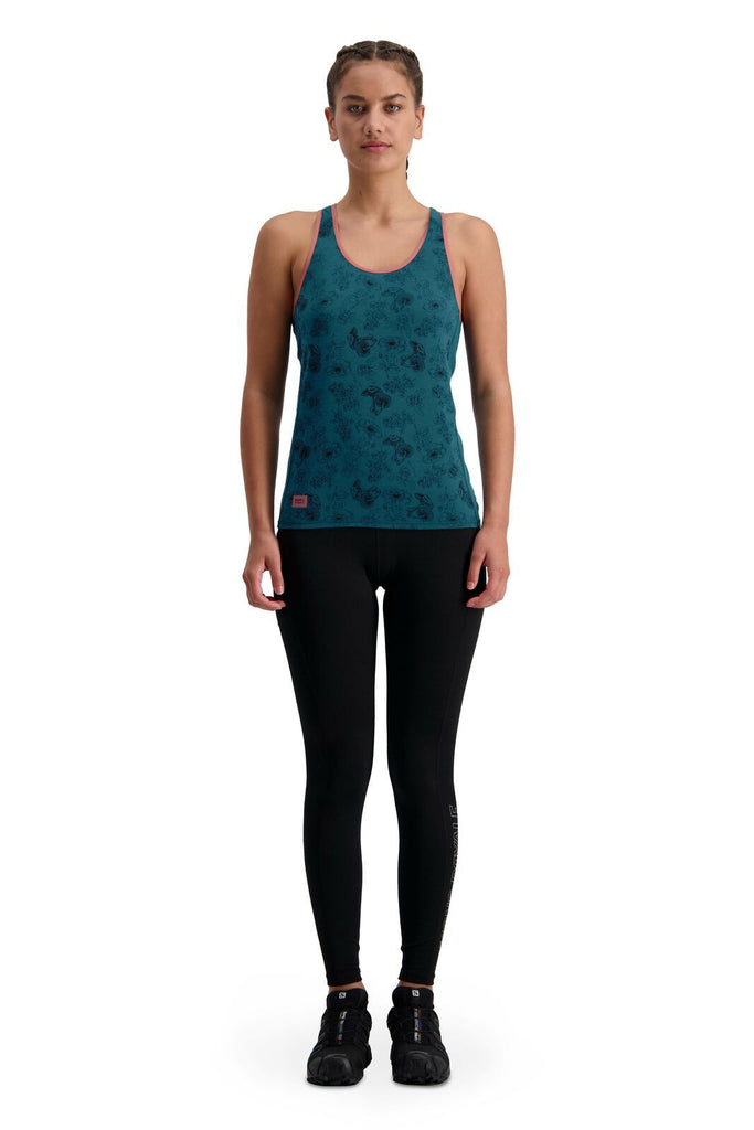 MONS ROYALE Womens Bella Tech Tank Forest Alchemy Front Full
