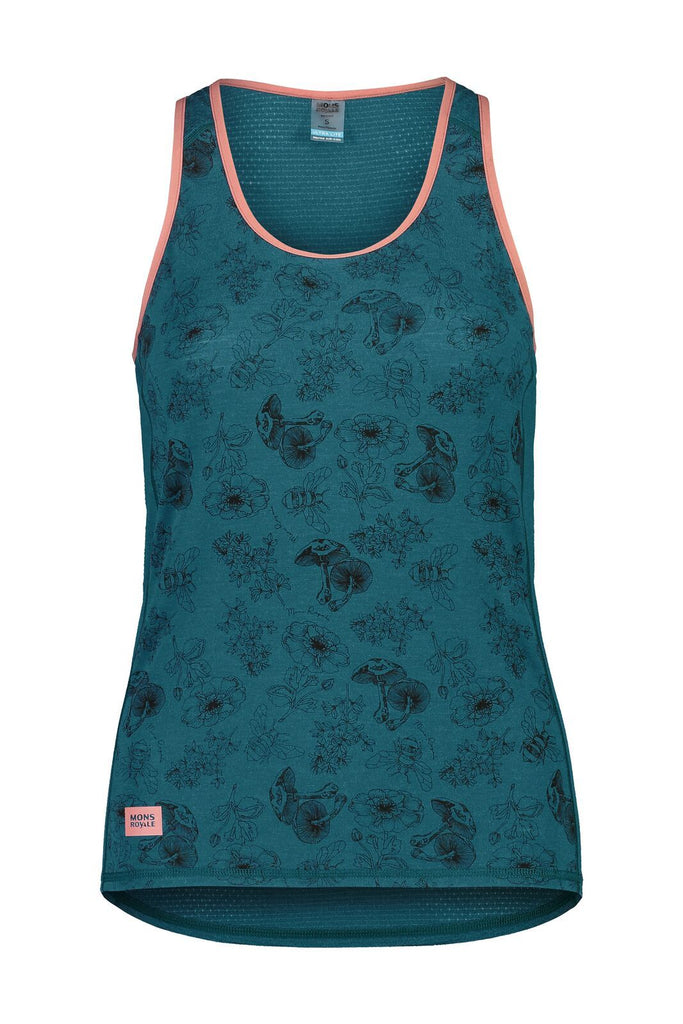 MONS ROYALE Womens Bella Tech Tank Forest Alchemy Front Off Model