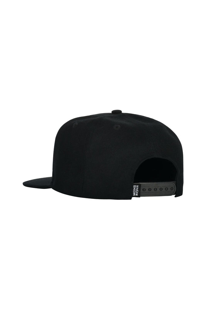 MONS ROYALE Unisex Wool Connor Cap Black Back Angle