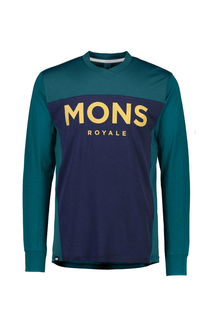 MONS ROYALE Mens Redwood Enduro Vls Deep Teal Navy Front Off Model