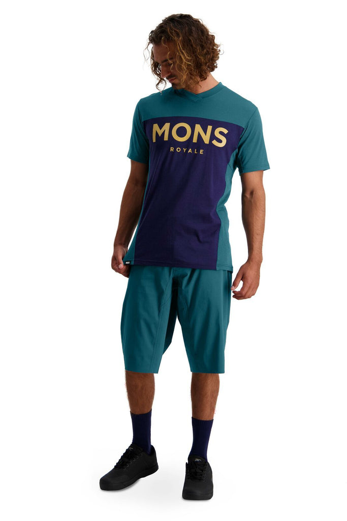 MONS ROYALE Mens Redwood Enduro Vt Deep Teal Navy Front Full