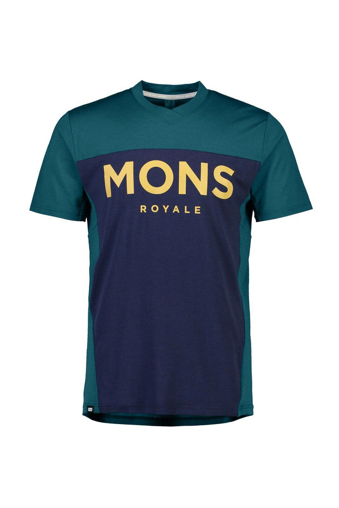 MONS ROYALE Mens Redwood Enduro Vt Deep Teal Navy Front Off Model