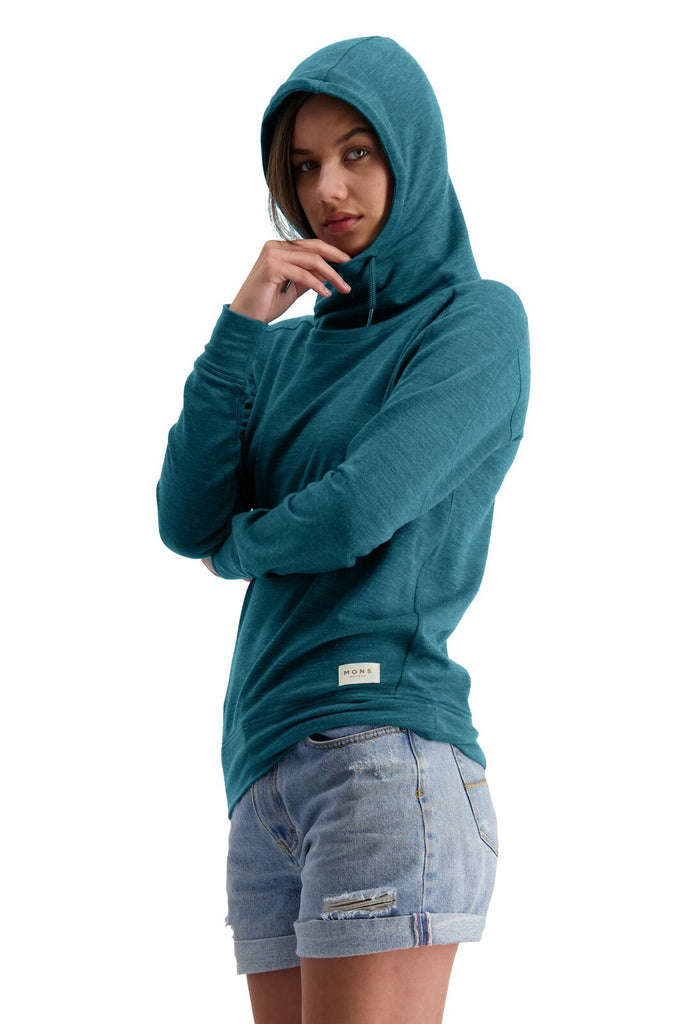 MONS ROYALE Womens Covert Lite Funnel Hood Deep Teal side Angle Hood Up