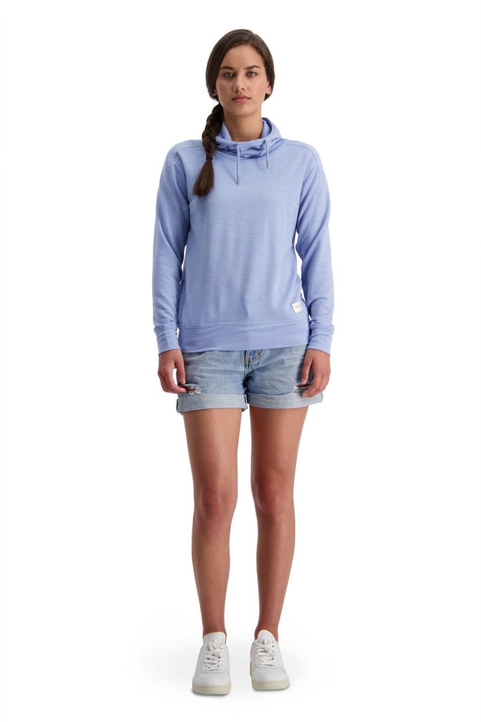 MONS ROYALE Womens Covert Lite Funnel Hood Faded Denim Front Full