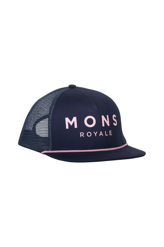 MONS ROYALE Unisex The Acl Trucker Cap Dark Denim Powder Pink Front Angle
