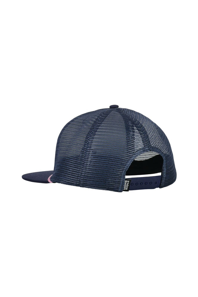 MONS ROYALE Unisex The Acl Trucker Cap Dark Denim Powder Pink Back