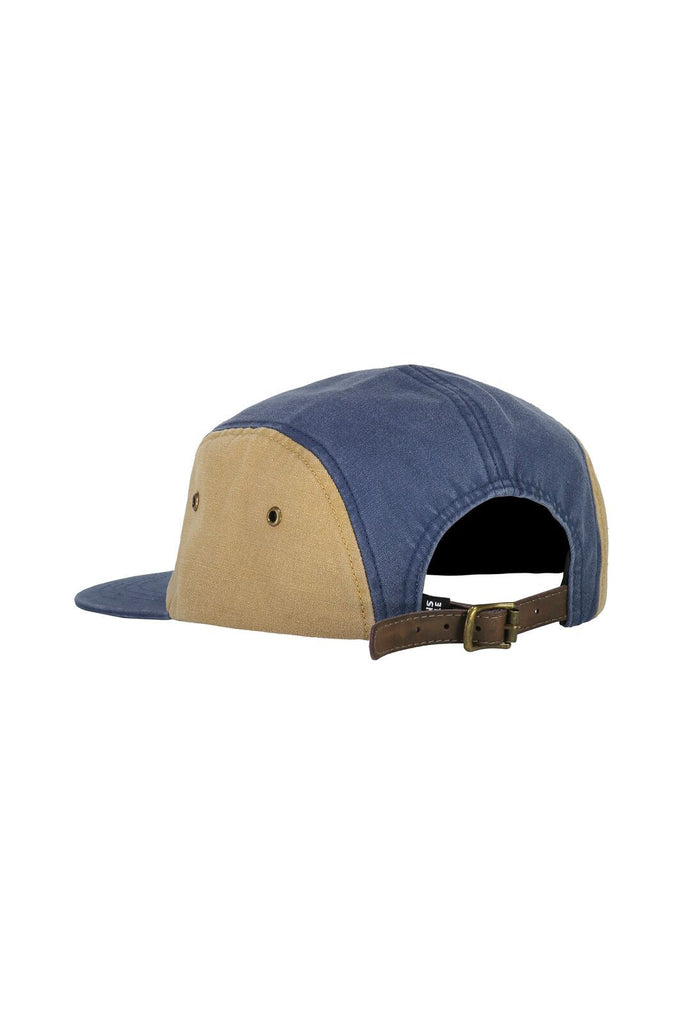 MONS ROYALE Unisex Beattie 5 Panel Cap Dark Denim Honey back Angle