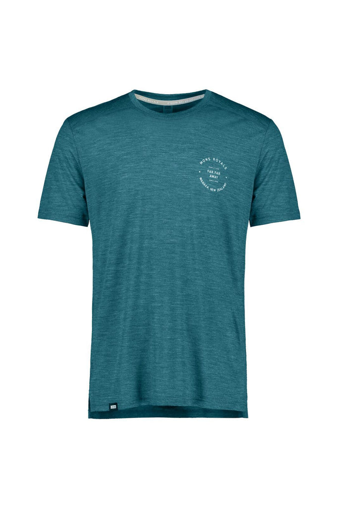 MONS ROYALE Mens Vapour T Deep Teal Front off Model