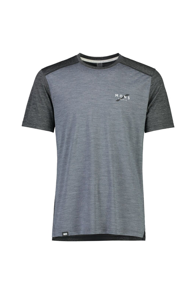 MONS ROYALE Mens Vapour T Smoke Slate Front Off Model