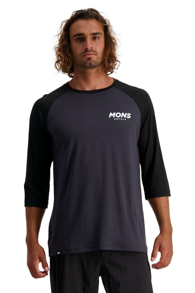 MONS ROYALE Mens Tarn Freeride Ls Wind Jersey Black 9 Iron Front