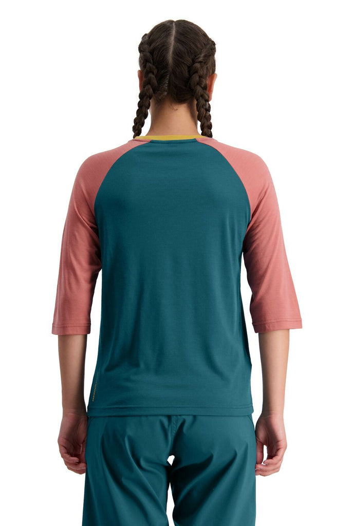 MONS ROYALE Womens Tarn Freeride Raglan 3 4 Deep Teal Pink Clay Back