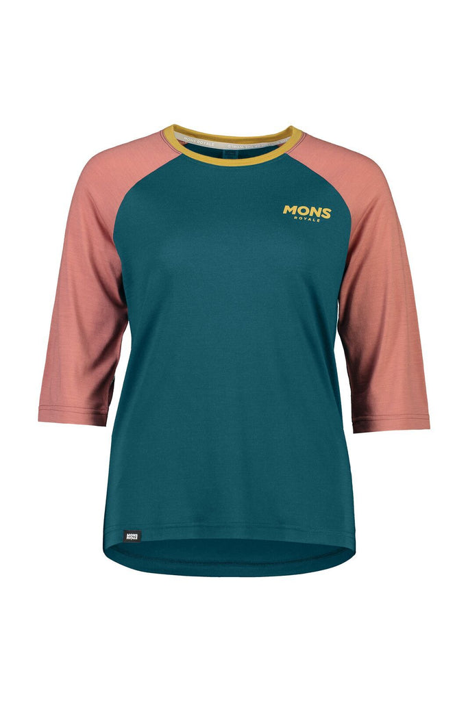 MONS ROYALE Womens Tarn Freeride Raglan 3 4 Deep Teal Pink Clay front Off Model