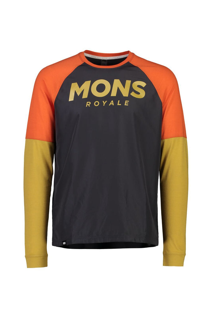 MONS ROYALE Mens Tarn Freeride Ls Wind Jersey Desert Alchemy front Off Model