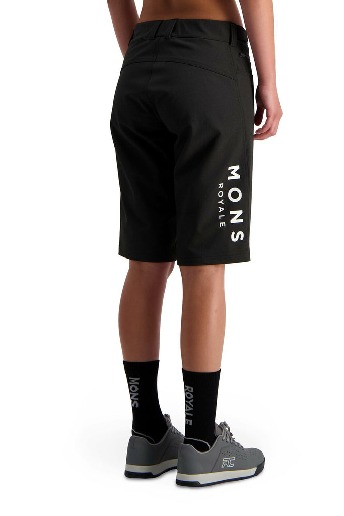 MONS ROYALE Womens Momentum 2 0 Bike Shorts Black Back Angle