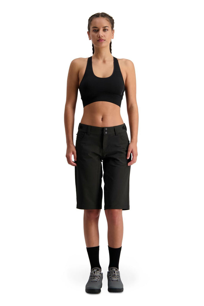 MONS ROYALE Womens Momentum 2 0 Bike Shorts Black Front Full