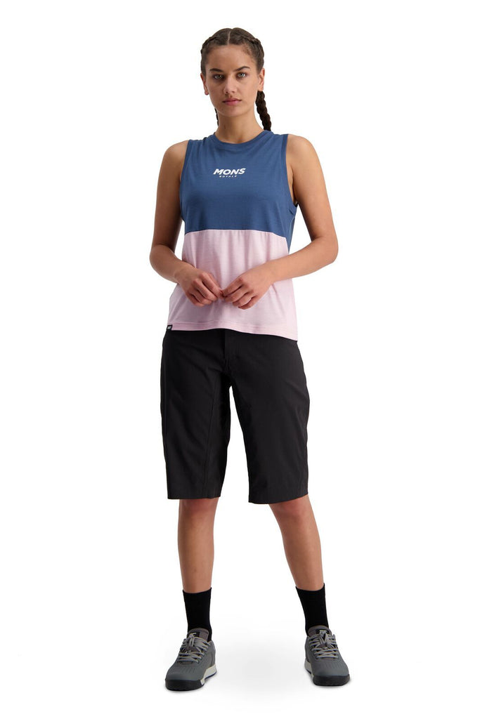MONS ROYALE Womens Tarn Freeride Tank Dark Denim Powder Pink Front Full