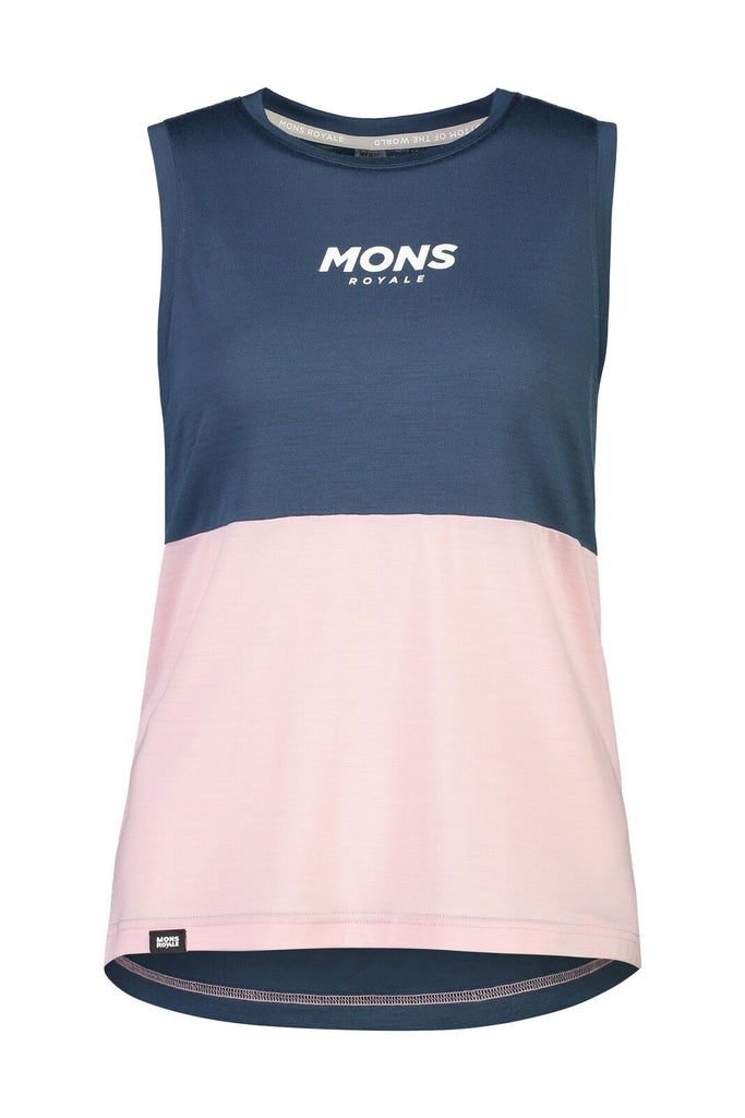 MONS ROYALE Womens Tarn Freeride Tank Dark Denim Powder Pink Front Off Model