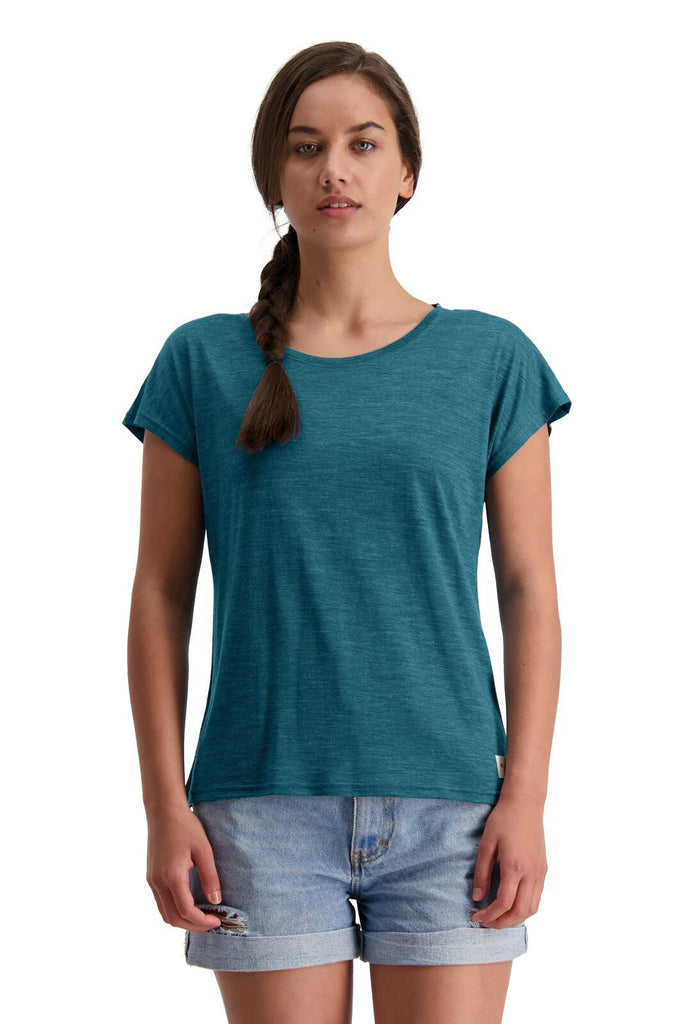 MONS ROYALE Womens Estelle Cap Tee Deep Teal Front