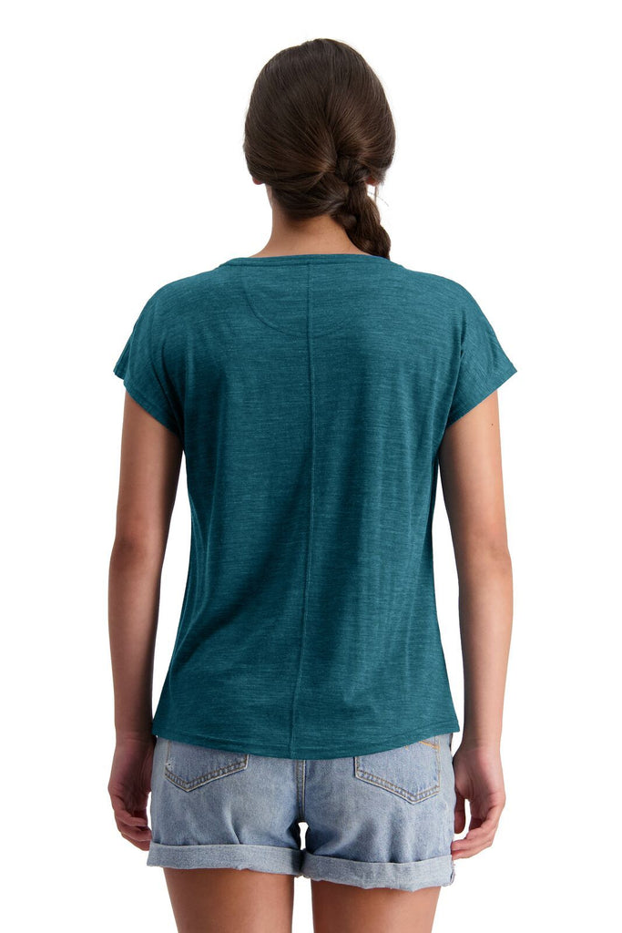 MONS ROYALE Womens Estelle Cap Tee Deep Teal Back