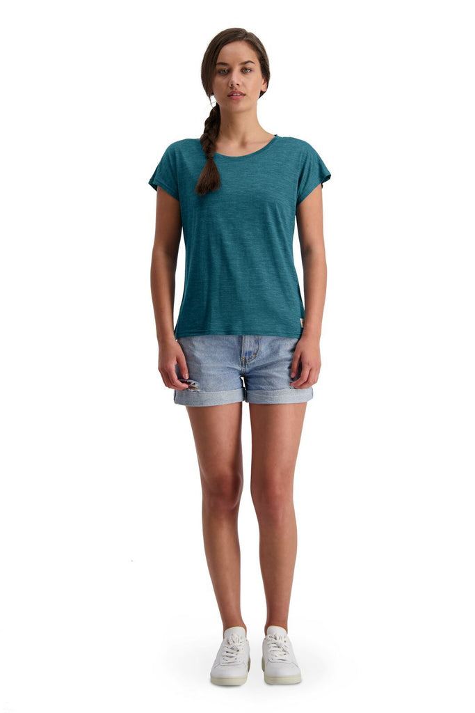MONS ROYALE Womens Estelle Cap Tee Deep Teal Front Full