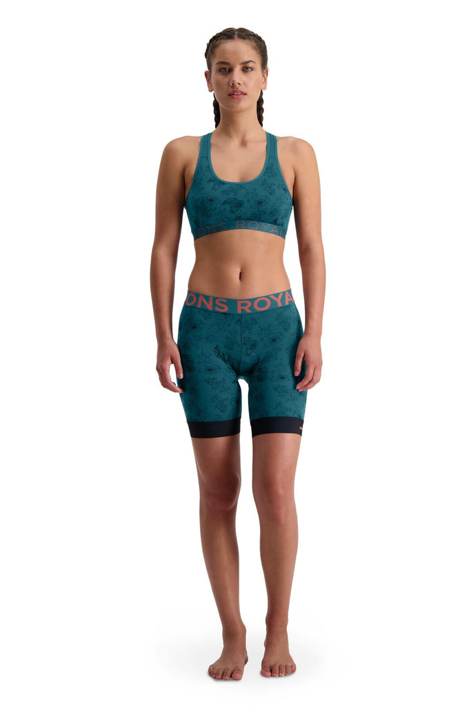 MONS ROYALE Womens Enduro Bike Short Liner Forest Alchemy Full Front With Bra
