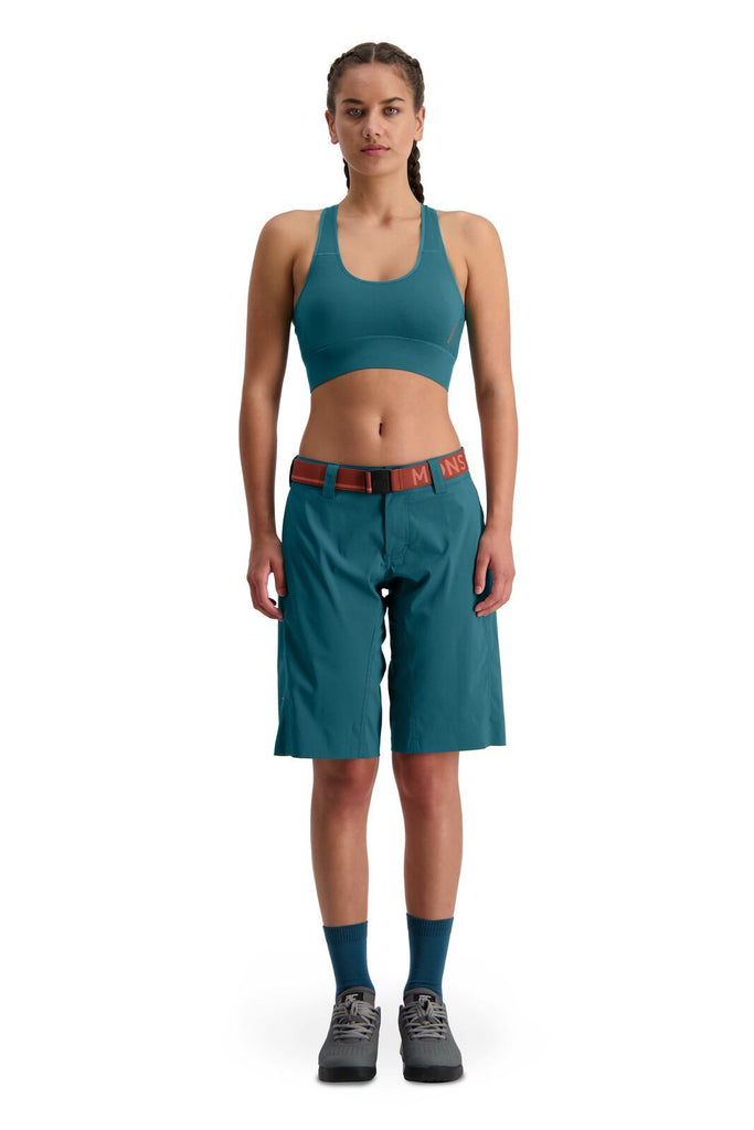 MONS ROYALE Womens Virage Bike Shorts Deep Teal Front Full