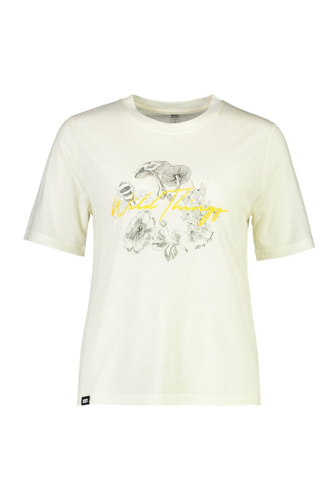 MONS ROYALE Womens Icon Relaxed Tee White Front Off Model