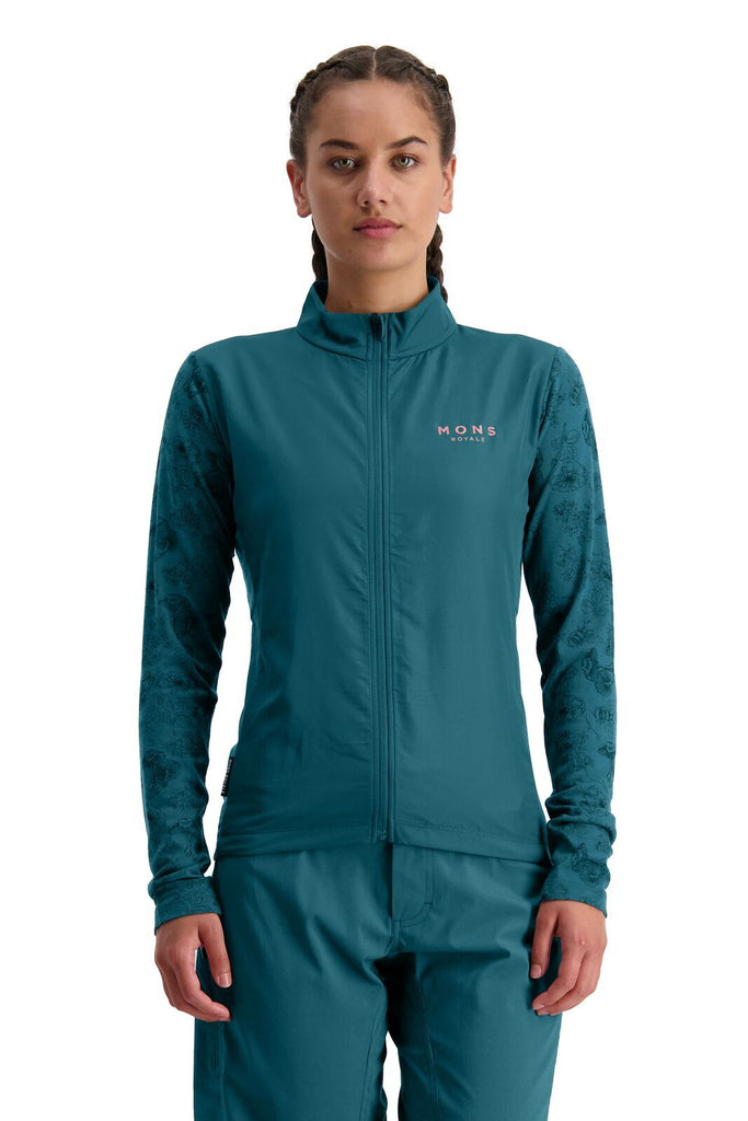 MONS ROYALE Womens Redwood Wind Jersey Deep Teal front