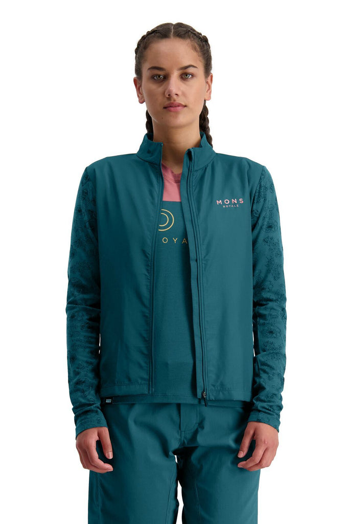 MONS ROYALE Womens Redwood Wind Jersey Deep Teal Front Open