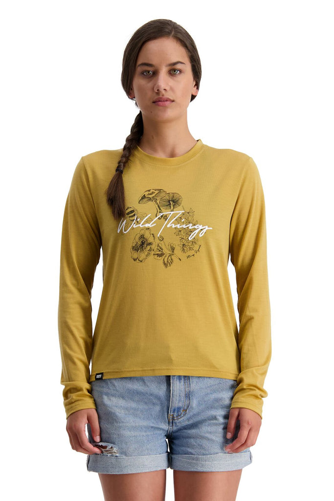 MONS ROYALE Womens Icon Relaxed Ls Honey Front