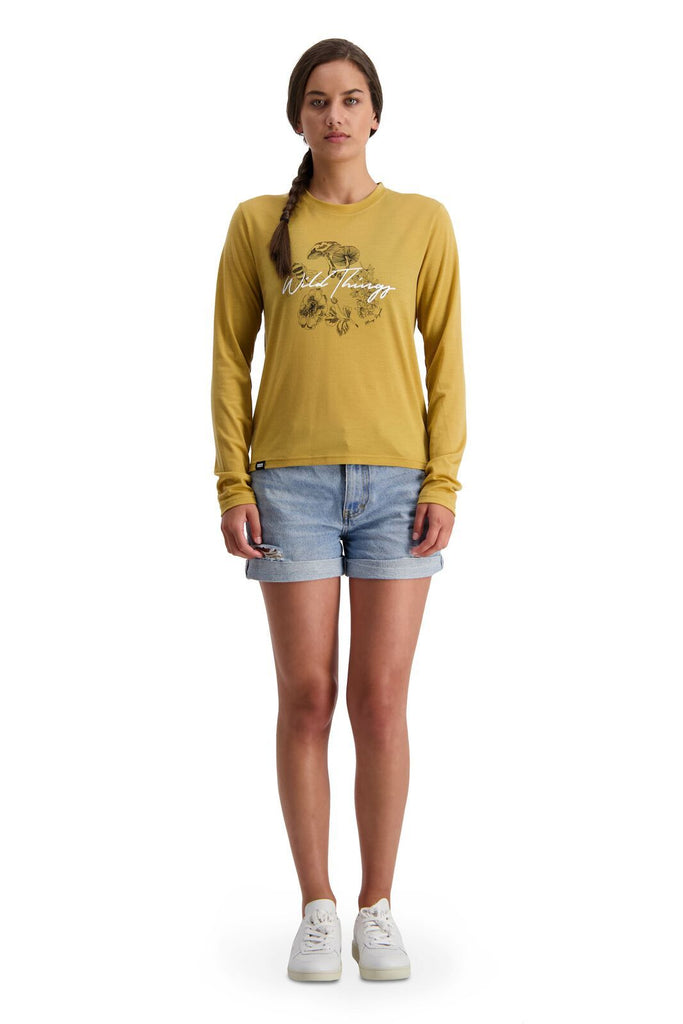 MONS ROYALE Womens Icon Relaxed Ls Honey front Full