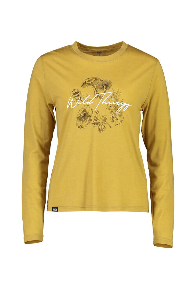 MONS ROYALE Womens Icon Relaxed Ls Honey front Off Model