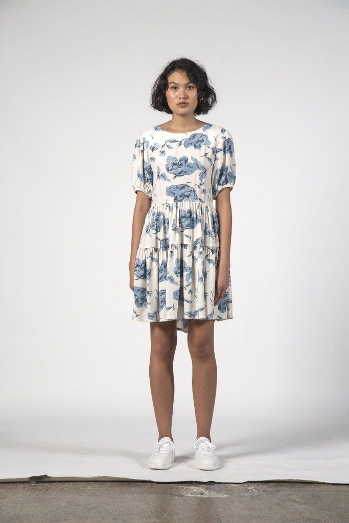 THINGTHING Poppy Dress Blue Floral Front