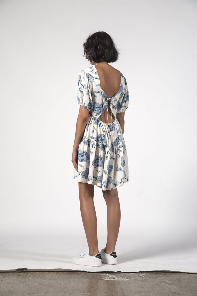 THINGTHING Poppy Dress Blue Floral Back