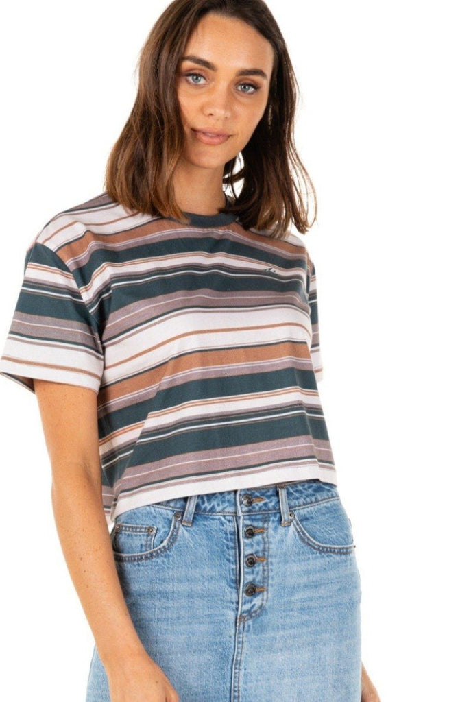 RUSTY Horizons Crop Short Sleeve Tee Blue Spruce Front