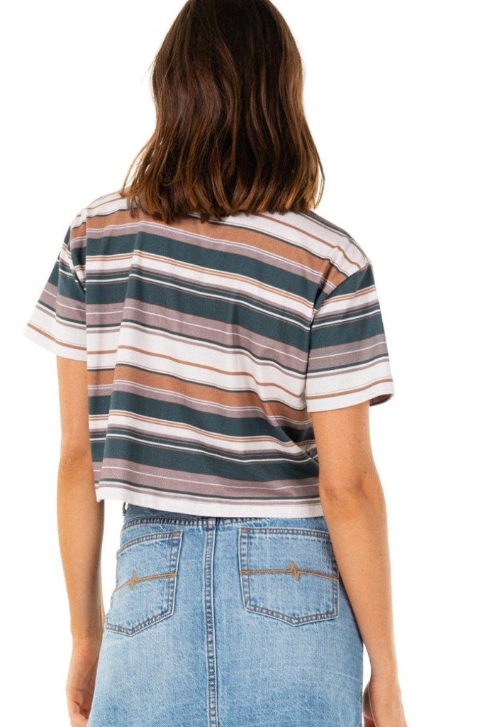 RUSTY Horizons Crop Short Sleeve Tee Blue Spruce Back