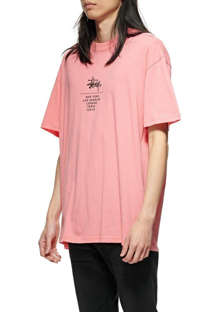 STUSSY City Stack Tee Hot Coral Front