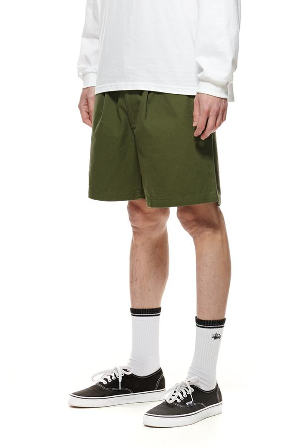 The Stussy Pin Drill Shorts Flight Green Front