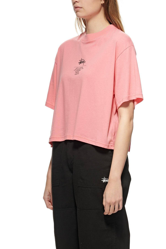 STUSSY Copyright Boxy Tee Hot Coral Front