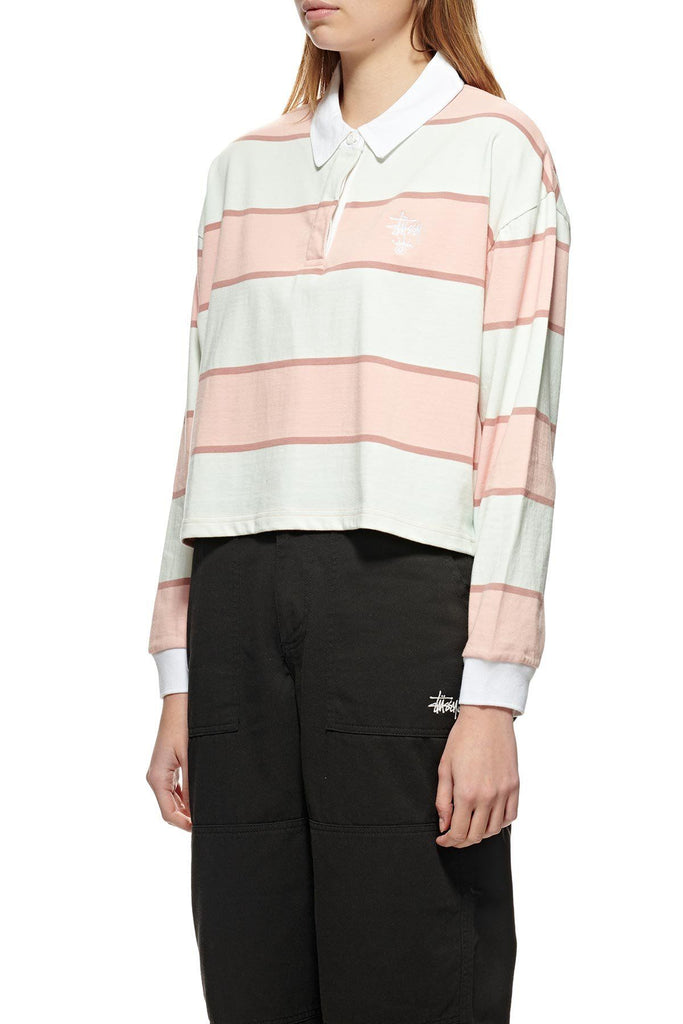 STUSSY Manning Stripe Rugby Dusty Coral Front