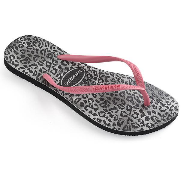HAVAIANAS Slim Animal Leopard Black Pink Single