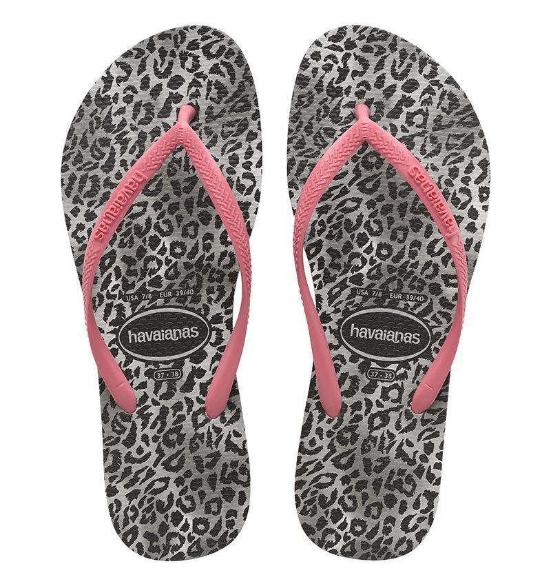 HAVAIANAS Slim Animal Leopard Black Pink Pair